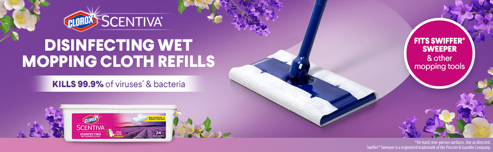 Clorox Scentiva Wet Mopping Cloths Tuscan Lavender White