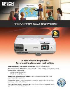 View PowerLite 935W Product Specifications PDF