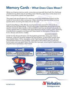 View Memory Cards - What Does Class Mean? PDF