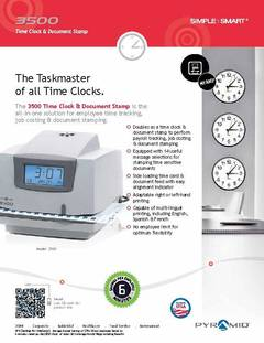 View Pyramid 3500 Time Clock Smart Sheet PDF
