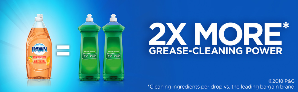 2X MORE grease-cleaning power* *Cleaning ingredients per drop vs. the leading bargain brand.