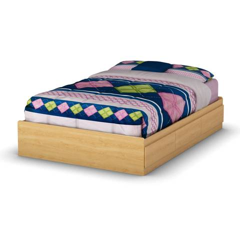south shore full storage mates bed natural maple