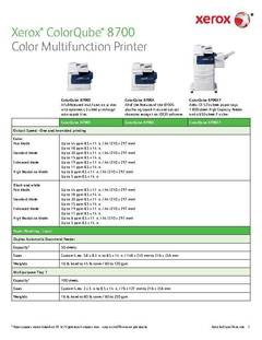 Detailed Specifications - ColorQube 8700 - opens PDF