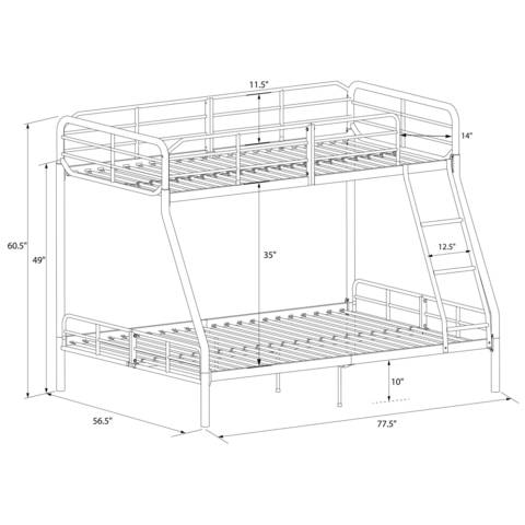 mainstays twin over full metal bunk bed, black - walmart