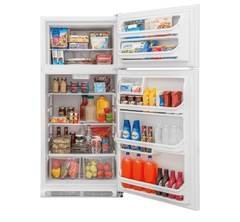 Frigidaire Top-Mount Refrigerator: FFHT1814TW, Door open, Loaded
