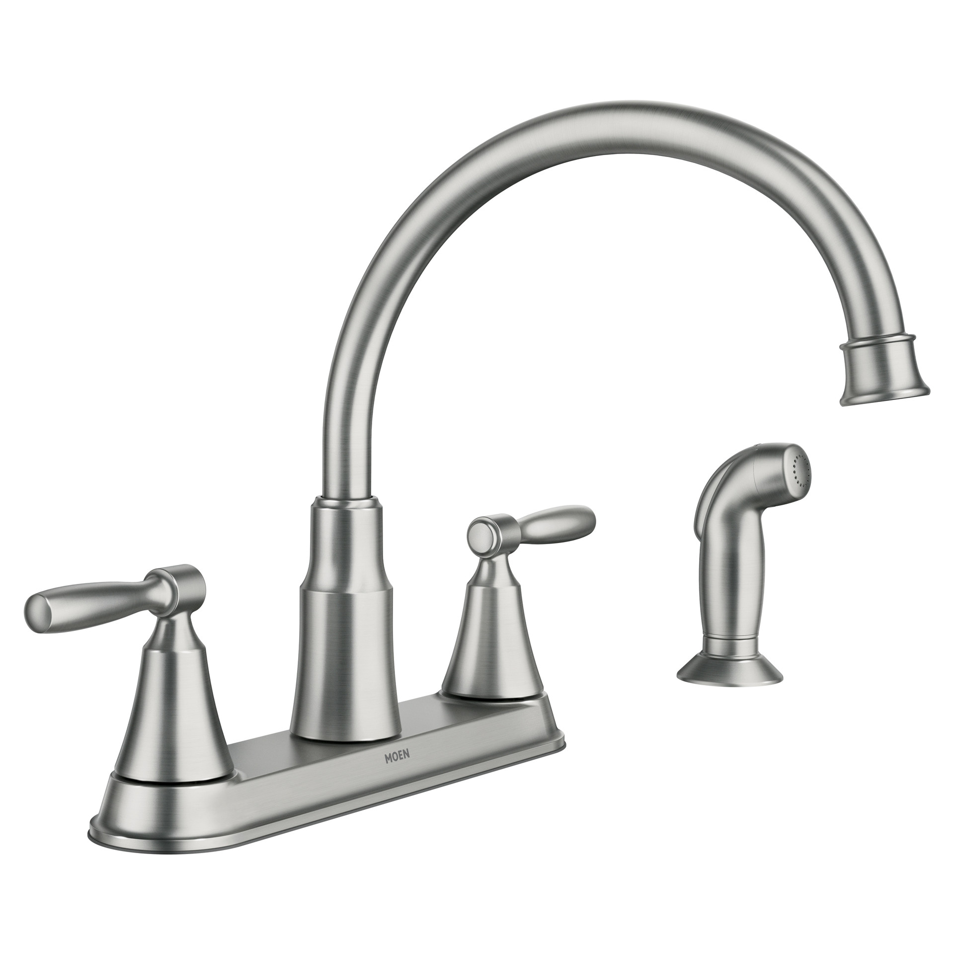 Moen Hutchinson Spot Resist Stainless 2 Handle Deck Mount High Arc Handle Kitchen Faucet Deck Plate Included In The Kitchen Faucets Department At Lowes Com