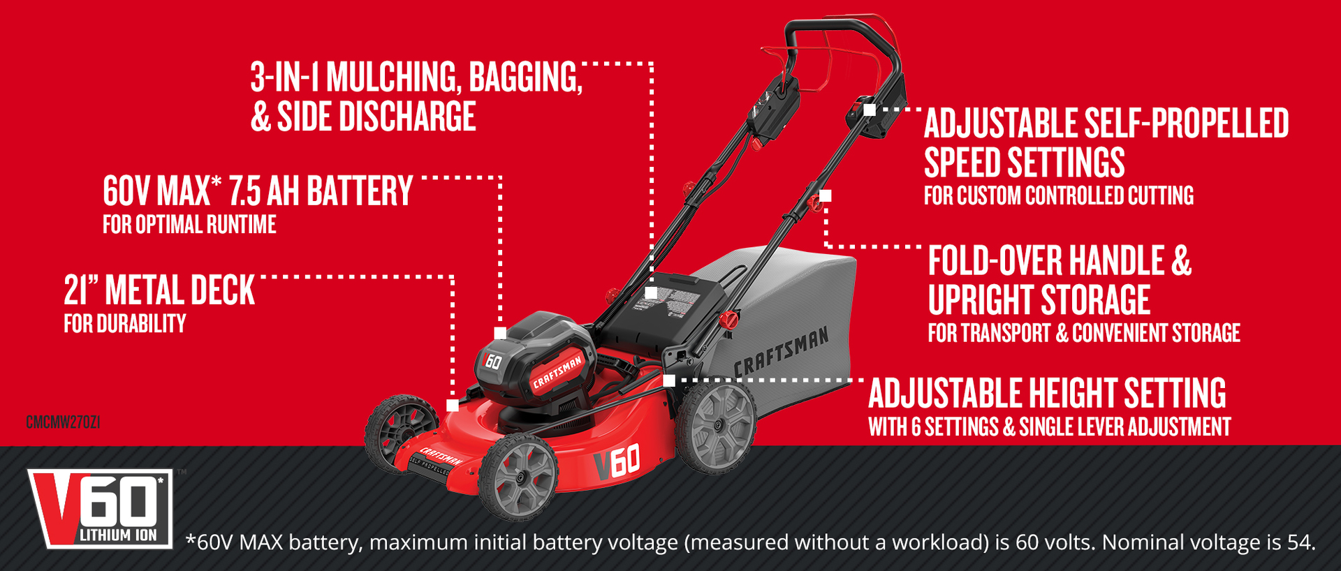 CRAFTSMAN V60 60-Volt Max Lithium Ion Self-propelled 21-in