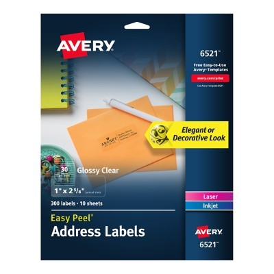 avery glossy permanent labels 6521 mailing 1 x 2 58 clear pack of