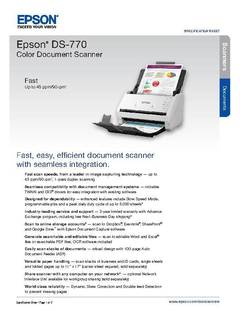 View Epson DS-770 Color Document Scanner Product Specifications PDF