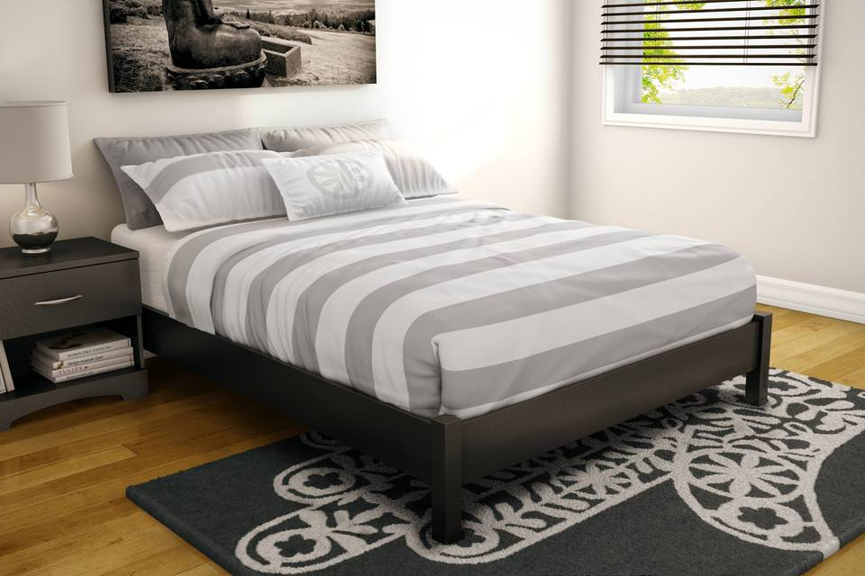 South Shore SoHo Full Platform Bed, Pure Black