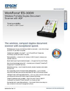 View Epson WorkForce ES-300W Wireless Portable Duplex Document Scanner with ADF Product Specifications PDF