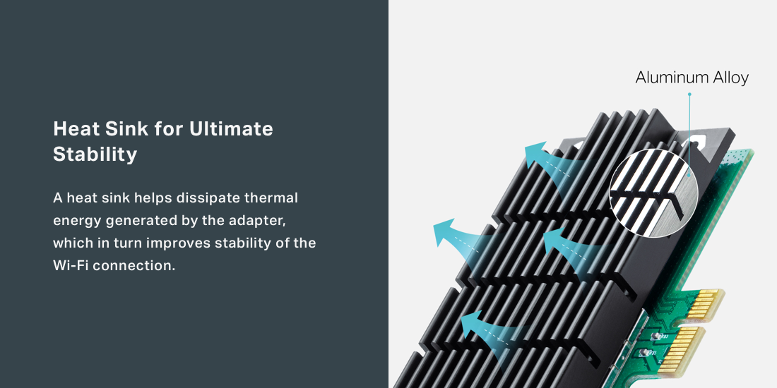 Aluminum alloy heat sink distributes heat away from core components to keep adapter cool.