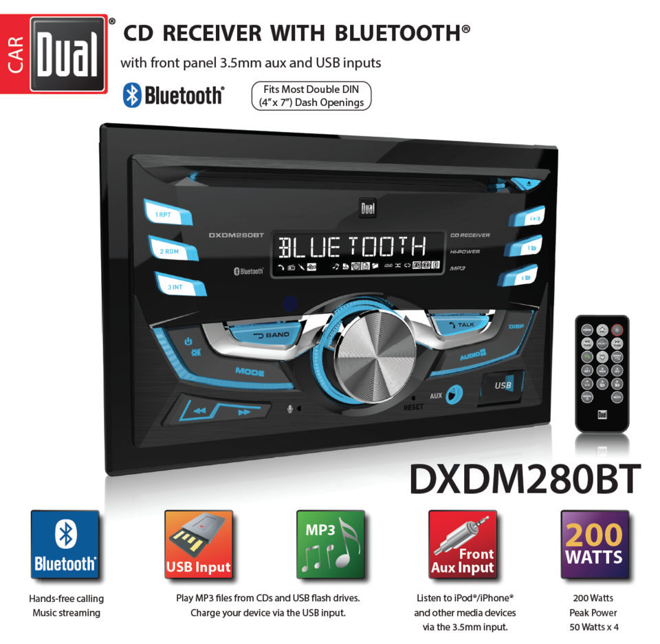 Dual Electronics Dxdm280bt Multimedia Lcd High Resolution Double Din 98 Accord Cd Player Wiring Diagram Car Stereo Receiver With Built In Bluetooth Usb Mp3 Wma