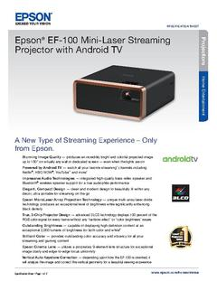 View Epson EF-100 Mini-Laser Streaming Projector with Android TV Product Specifications PDF