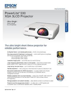 View PowerLite 530 Product Specifications PDF