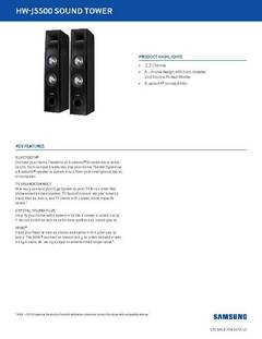 View TW-J5500 Sound Tower Specifications Sheet PDF