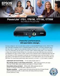 View PowerLite 1771W Product Specifications PDF