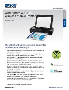 View Epson WorkForce WF-110 Wireless Mobile Printer Product Specifications PDF