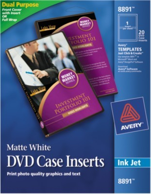 avery print to the edge inkjet dvd case inserts 8891 4 12 diameter