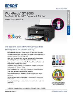 View Epson WorkForce ST-2000 EcoTank Color MFP Supertank Printer Product Specifications PDF
