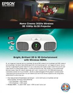 Home Cinema 3020e Product Specifications - opens PDF