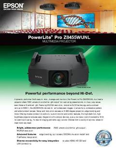 PowerLite Pro Z8455WUNL Specifications Sheet - opens PDF
