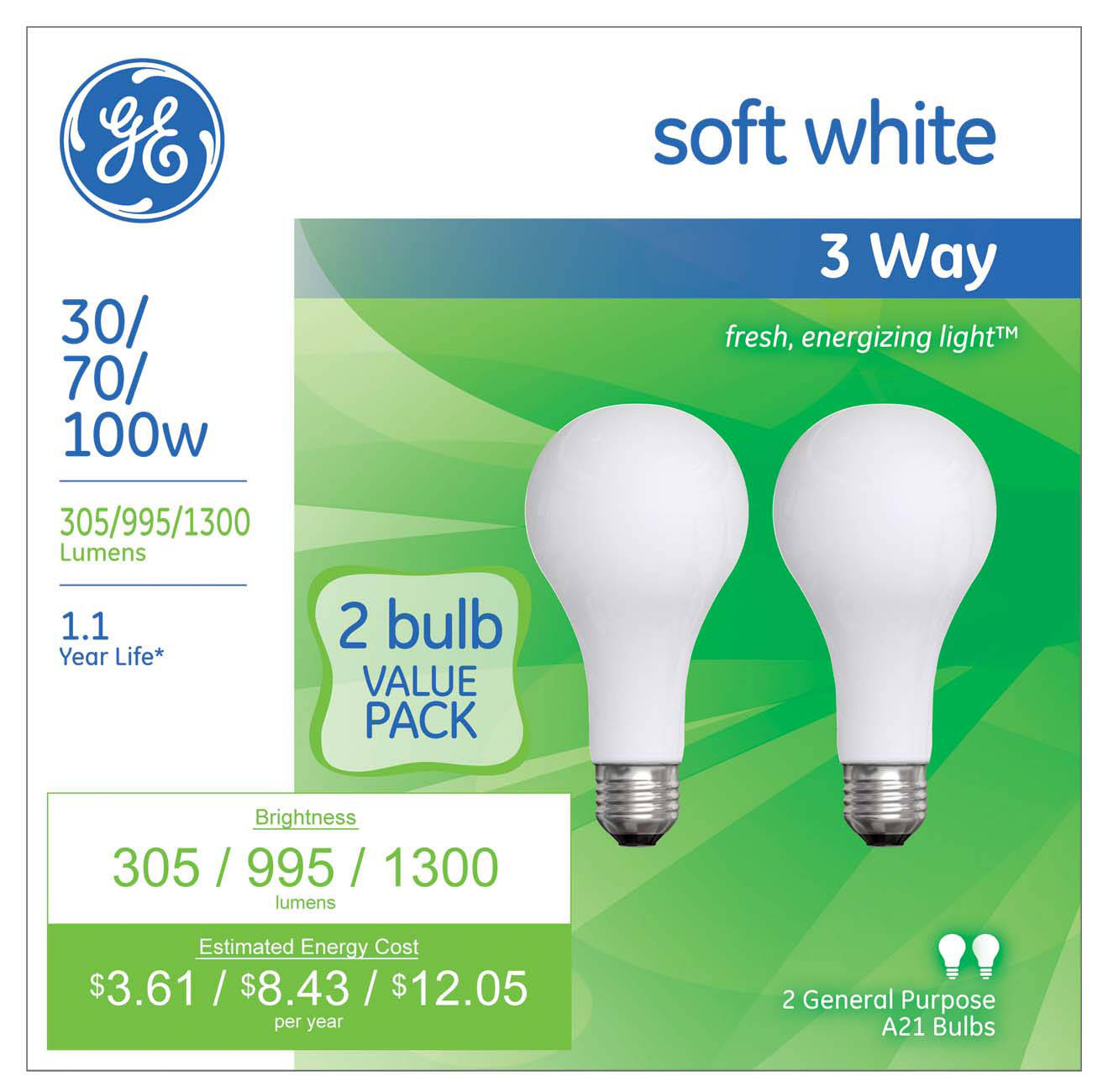 Ge soft white 3 way 30 70 100 watt incandescent a21 2 pack 3 way light bulbs