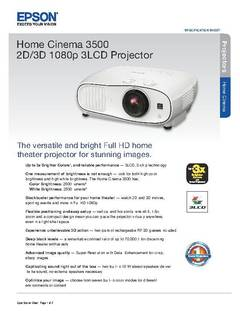View Home Cinema 3500 Product Specifications PDF