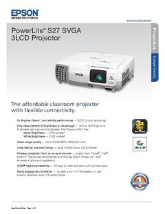 View PowerLite S27 Product Specifications PDF