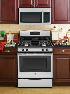 JVM6175RFSS over-the-range microwave oven featured in Stainless Steel/Black.