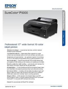 View Epson SureColor P5000 Standard Edition Product Specifications PDF