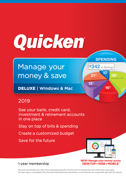 Quicken Deluxe 2019 for 1 User, Windows/Mac, Download (0170237)
