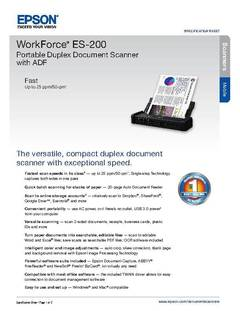 View Epson WorkForce ES-200 Portable Duplex Document Scanner with ADF Product Specifications PDF