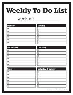 View Weekly To Do List PDF