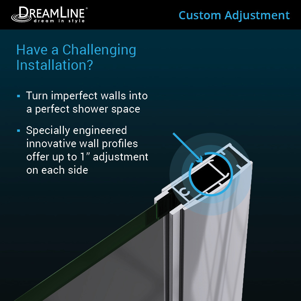 DreamLine Elegance 32 25-in to 34 25-in W Frameless Pivot Brushed