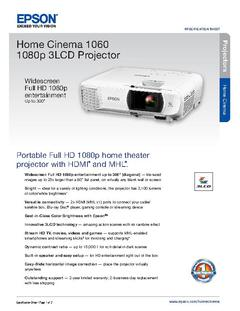 View Epson Home Cinema 1060 1080p 3LCD Projector Product Specifications PDF