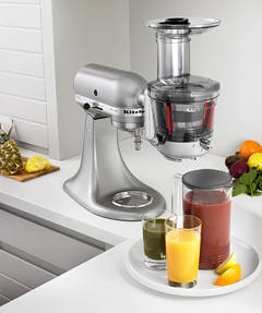 Contour Silver Stand Mixer with Juicer and Sauce Attachment