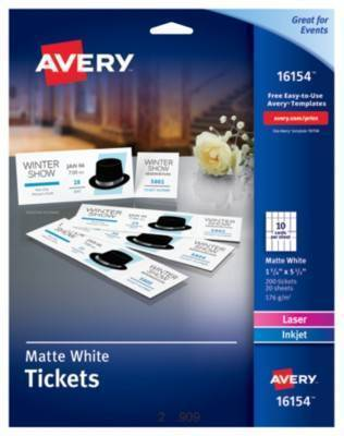 printable tickets w tear away stubs by avery ave16154