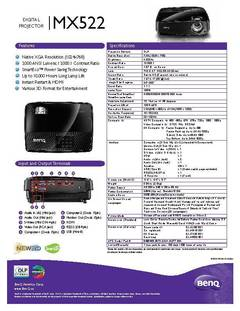 MX522 Specification Sheet - opens PDF