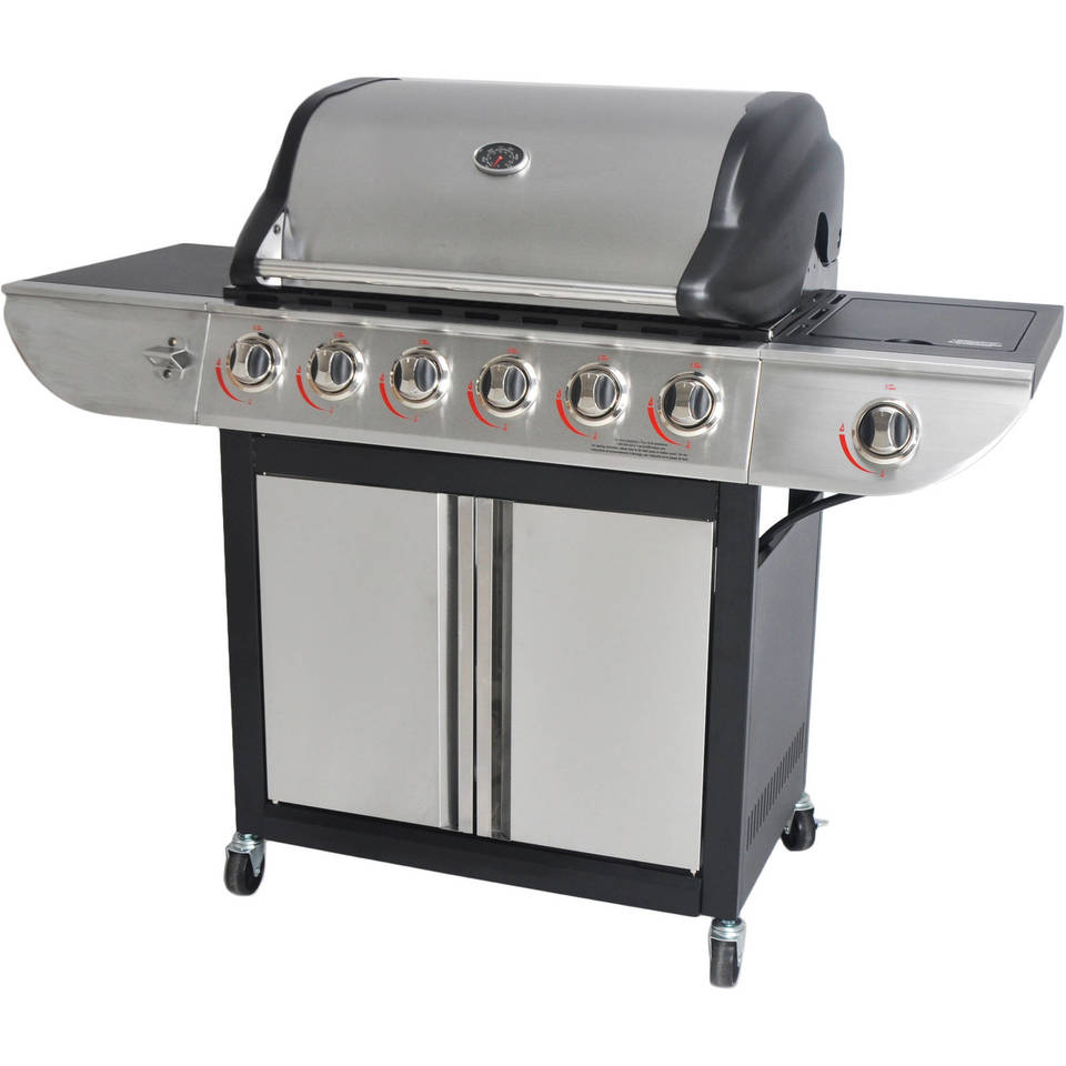 revoace 6 burner lp gas grill with side burner stainless steel