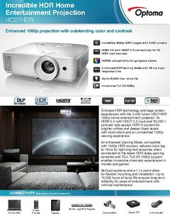 Optoma HD27HDR 1080p HDR Home Theatre Projector