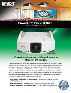 View PowerLite Pro Z8350WNL Specifications Sheet PDF