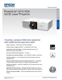 View Epson PowerLite L610 XGA 3LCD Laser Projector Product Specifications PDF