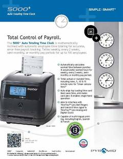 View Pyramid 5000 Time Clock Smart Sheet PDF