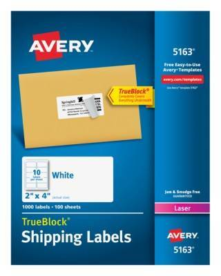 Avery Permanent Shipping Labels With Trueblock Technology 5163 2 X 4