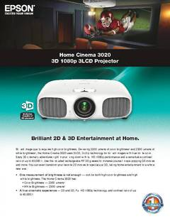 Home Cinema 3020 Product Specifications - opens PDF