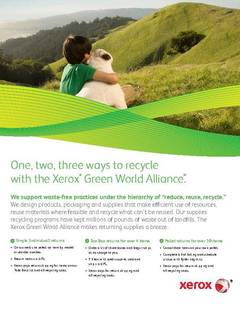 One, two, three ways to recycle with the Xerox® Green World Alliance. - opens PDF