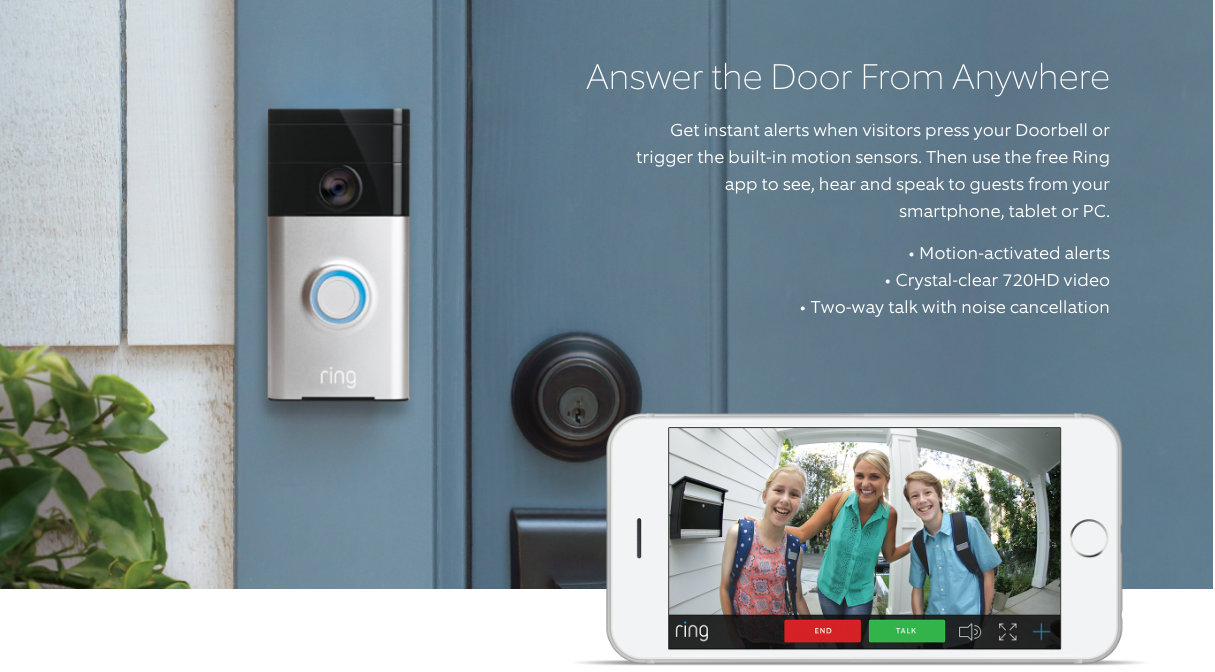 Shop Ring Video Doorbell Satin Nickel Wireless Doorbell at Lowes.com