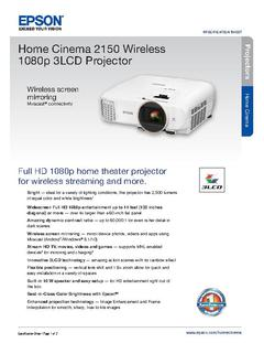 Epson Home Cinema 2150 Wireless 1080p 3LCD Projector P