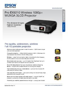 View Epson Pro EX9210 Wireless 1080p+ WUXGA 3LCD Projector Product Specifications PDF